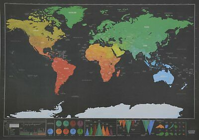 Deluxe Travel Edition Scratch Off World Map Poster Personalized Journal Log 10