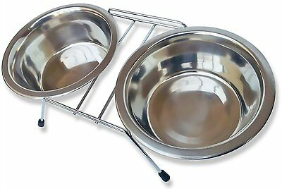 Double Dinner Pet Feeding Bowl Stainless Steel Cat Food Station Water Dish New 3