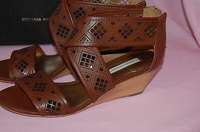 8dd3c0e41 ... CYNTHIA VINCENT Leah Cognac Strappy Cut Out Wooden Wedges Leather  Sandals~6.5