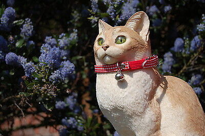 """Pet Palace """"Clothcat"""" Red Cat Collar with gingham tablecloth pattern 6"""
