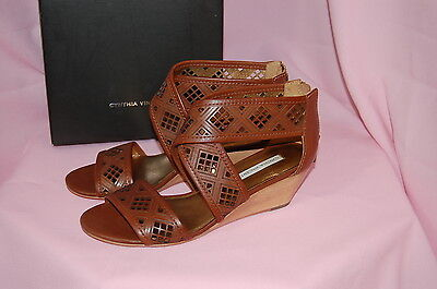 c21fd6baf 2 of 12 CYNTHIA VINCENT Leah Cognac Strappy Cut Out Wooden Wedges Leather  Sandals~6.5