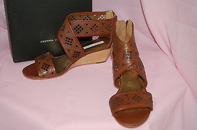 d7bb3da8b 3 of 12 CYNTHIA VINCENT Leah Cognac Strappy Cut Out Wooden Wedges Leather  Sandals~6.5