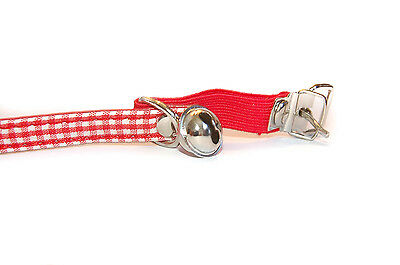 """Pet Palace """"Clothcat"""" Red Cat Collar with gingham tablecloth pattern 4"""