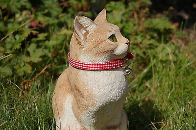 """Pet Palace """"Clothcat"""" Red Cat Collar with gingham tablecloth pattern 5"""