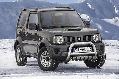Edelstahl Frontbügel mit ABE für Suzuki Jimny ab 2012 Unterfahrschutz SCHWARZ