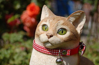"""Pet Palace """"Clothcat"""" Red Cat Collar with gingham tablecloth pattern 7"""