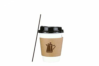 100 Pack 12 Oz Disposable Hot Paper Coffee Cups Lids Sleeves Stirrers 400 Pieces 3
