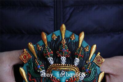 "5.5"" Tibet Buddhism Turquoise gilt sword skull Mahakala Mask statue 2"