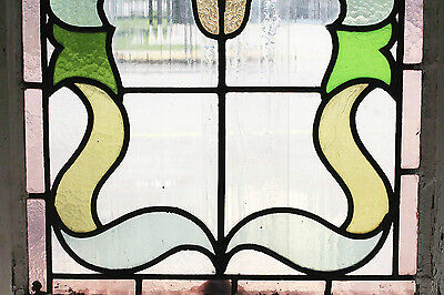 Antique Stained Glass Window Eight colors of Glass Fantastic Floral       (2592)