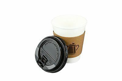 100 Pack 12 Oz Disposable Hot Paper Coffee Cups Lids Sleeves Stirrers 400 Pieces 4
