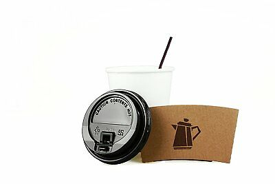 100 Pack 12 Oz Disposable Hot Paper Coffee Cups Lids Sleeves Stirrers 400 Pieces 6