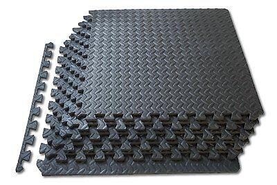 Black Interlocking Eva Soft Foam Exercise Floor Mats Gym Garage House Office Mat 2