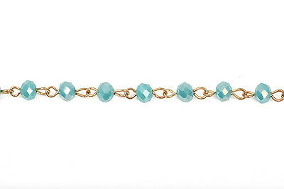 3ft TURQUOISE BLUE AB Crystal Rondelle Rosary Chain, Gold, 6mm beads fch0445a 2