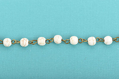 3ft WHITE Howlite Rosary Bead Chain, bronze, 6mm round stone fch0606a 2