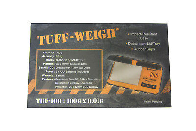 Tuff Weigh Digital Scales Pocket 100g x 0.01g JCB Style Rugged Rubber Table Top 3