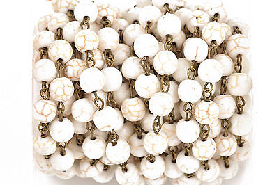 3ft WHITE Howlite Rosary Bead Chain, bronze, 8mm round stone beads fch0613a 2