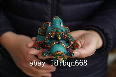"7"" China Tibet Handmade Turquoise gilt Elephant Buddha Mammon Mask 5"