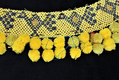 Gelber Tribal Perlengürtel mit Bommeln, Handarbeit, Vintage 79 cm, Boho, Hippie 2