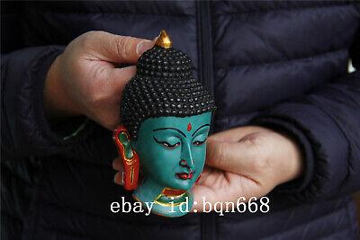 "6"" Tibet Buddhism Turquoise gilt Handmade Shakya Muni Amitabha Mask 4"