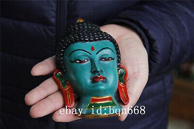"6"" Tibet Buddhism Turquoise gilt Handmade Shakya Muni Amitabha Mask 7"