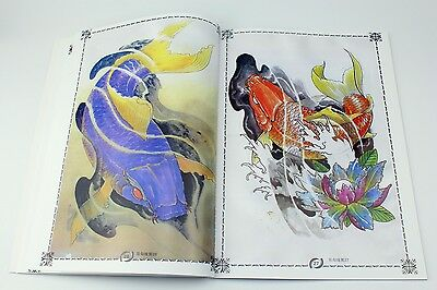 Koi Carp Fish Lotus Flower Tattoo Flash A4 Book With Line Drawing Outline Books