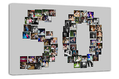 24x10 inch on Box//Wrapped Your Photo Collage Canvas Print Personalised 30x10