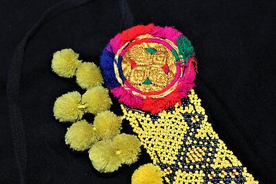 Gelber Tribal Perlengürtel mit Bommeln, Handarbeit, Vintage 79 cm, Boho, Hippie 4