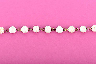 3ft WHITE Howlite Rosary Bead Chain, bronze, 8mm round stone beads fch0613a 4