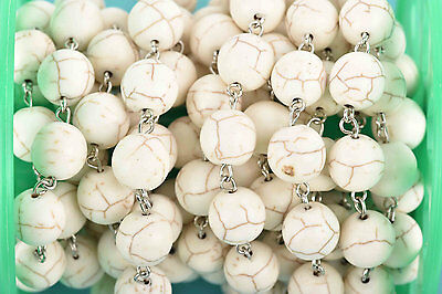 3ft WHITE Howlite Rosary Bead Chain-silver links-12mm round stone beads fch0605a 2