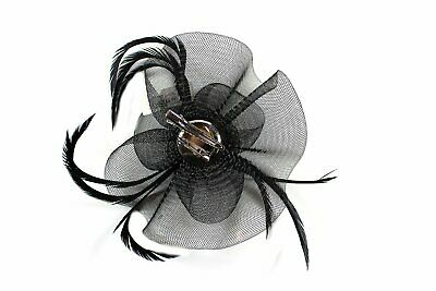 GIZZY® Sinamay Rose and Leaf Shape Fascinator with Feather Tendrils Set on Ha...