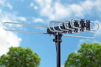 200 MILES OUTDOOR TV ANTENNA MOTORIZED AMPLIFIED HIGH GAIN dB HDTV  UHF VHF FM 9
