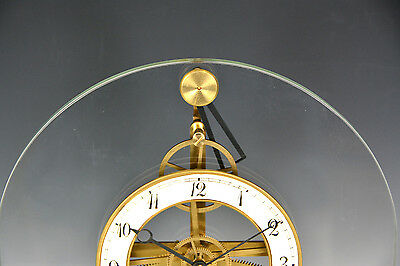 French Style Thin Glass Pinwheel Escapement Big Wheel Marble Base Skeleton Clock 4