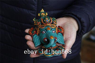 "7"" China Tibet Handmade Turquoise gilt Elephant Buddha Mammon Mask 6"