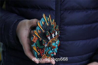 "5.5"" Tibet Buddhism Turquoise gilt sword skull Mahakala Mask statue 6"