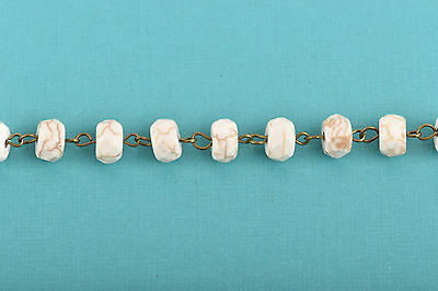 3ft WHITE Howlite Rosary Bead Chain, bronze, 10mm RONDELLE stone fch0622a 2