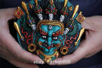 "5.5"" Tibet Buddhism Turquoise gilt sword skull Mahakala Mask statue 3"