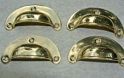 8 small shell shape pulls handles solid brass vintage POLISHED drawer 6.6 mm B 11