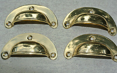 8 small shell shape pulls handles solid brass vintage POLISHED drawer 6.6 mm B 3