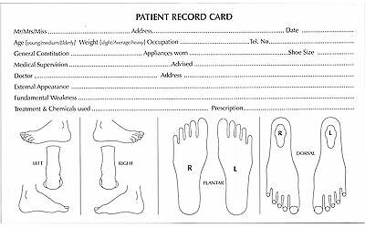 Chiropody Patient Record Cards - Detailed  - Podiatry Feet Record Cards 2