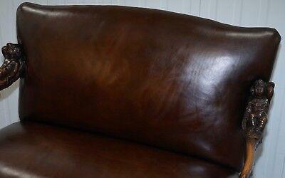 1850 Palatial Venetian Carved Walnut Leather Bench Valentino Panciera Besarel 6