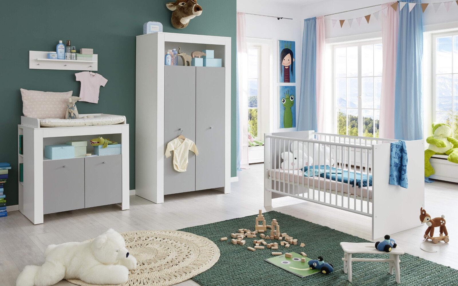"""Babyzimmer-Set /""""JALTA/"""" 5tlg Bett Wickelkommode Schrank Regal Eiche Sägerau"""