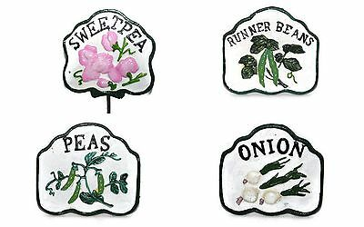 Cast Iron Paint Vegetable Garden Plant Marker Sign Set/12 Stake Yard Home Decor