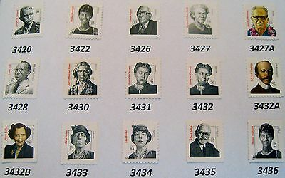 Distinguished Americans Complete MNH Set of All 15 Stamps Scott's 3420 to 3436 2