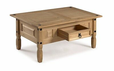 Corona Coffee Table Mexican Solid Pine 1 Drawer Livingroom by Mercers Furniture® 4