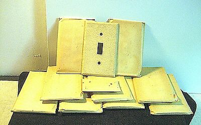 Vtg Lot 10 Sealed Nos Beige / Tan Textured Metal Wall Switch Plates & Screws 4