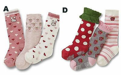 Girls 3p Stripes Polka Dots Pink Purple Socks Age 1 2 3 4 5 6 7 Normal/Anti-slip 2