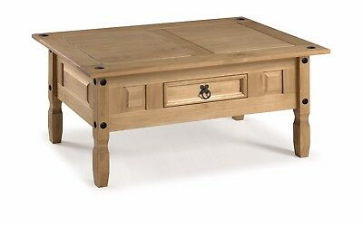 Corona Coffee Table Mexican Solid Pine 1 Drawer Livingroom by Mercers Furniture® 3