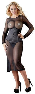 Vestito Longuette Aderente in Tulle Nero Velato Effetto Nudo a Maniche Lunghe 4