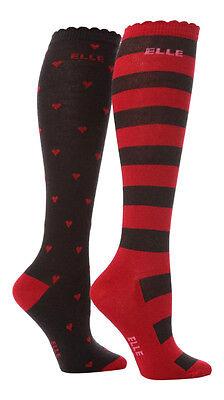 2 Prs Girls Elle Over Knee Red Hearts Stripe Socks 3