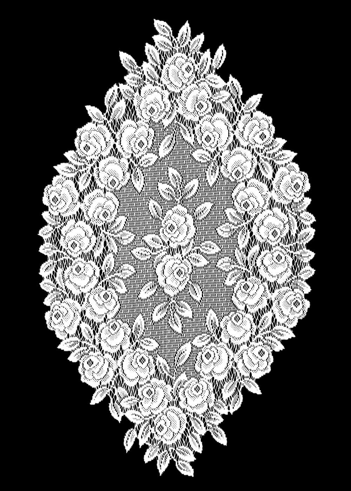 """SET OF 2 Heritage Lace White TEA ROSE 14""""x24"""" Doilies 2"""